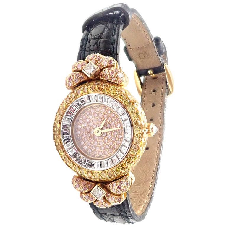Graff White Pink and Yellow Diamond Ladies Yellow Gold Watch For Sale