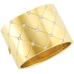Graff Wide Gold and Diamond Cuff Bangle Bracelet