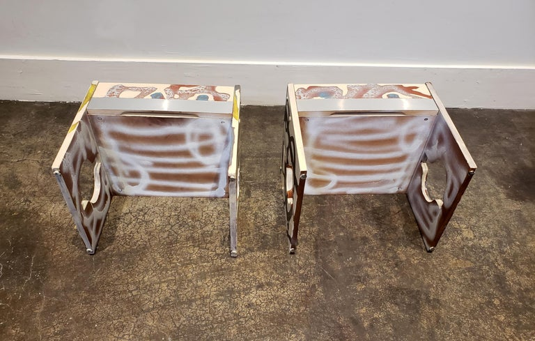 Graffitied Artist Painted 1970s Nightstands 2