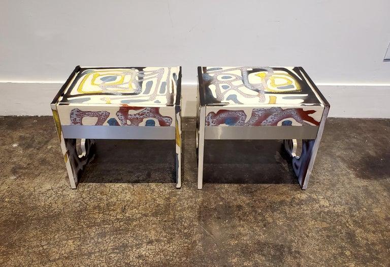 Post-Modern Graffitied Artist Painted 1970s Nightstands