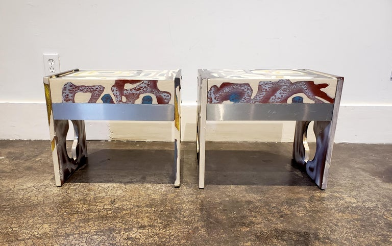 American Graffitied Artist Painted 1970s Nightstands