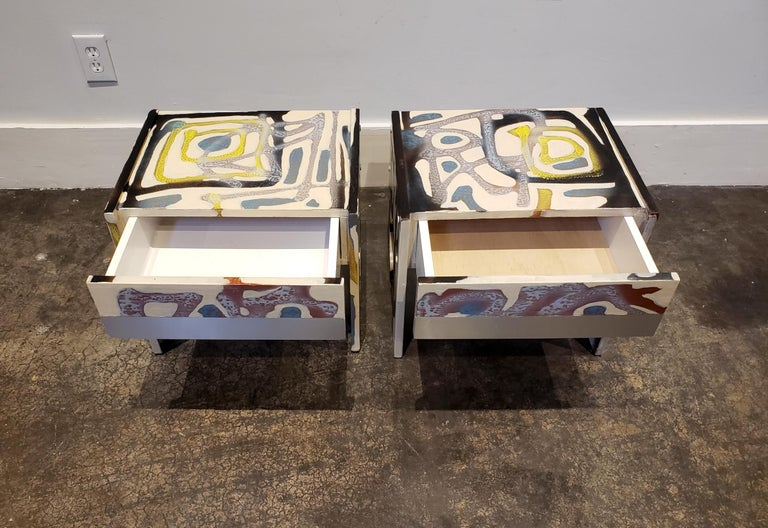 Hand-Painted Graffitied Artist Painted 1970s Nightstands