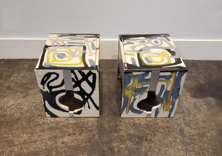 Graffitied Artist Painted 1970s Nightstands In Good Condition In Dallas, TX