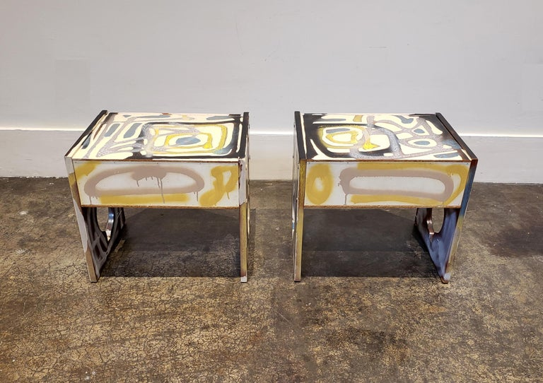 Contemporary Graffitied Artist Painted 1970s Nightstands