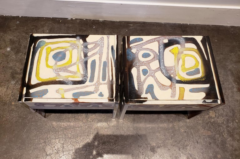 Graffitied Artist Painted 1970s Nightstands 1