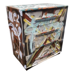 Graffitied Artist Painted Chest of Drawers