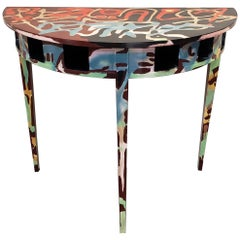 Graffitied Artist Painted Demilune Console Table