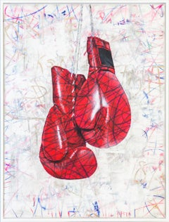 Fighting Spirit -Popart, Boxing, original Painting,Contemporary Art, 21stC., red