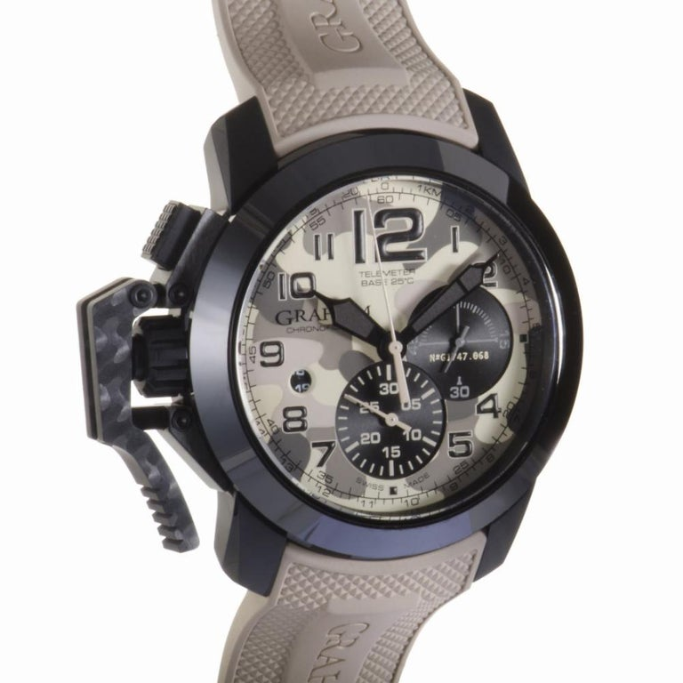Graham Chronofighter Reference #:2CCAU.E03A.K93B. The brand's highly revered dedication to producing items of remarkable practicality and reliable technical quality is perfectly embodied in this masculine timepiece from Graham which offers sublime