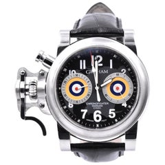 Graham Chronofighter Stainless Steel Overlord C.O.S.C. on Leather Strap