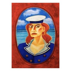 Graham Knuttel Lady at Sea Pastel Irish Artist Painter Framed Blue Red Gold