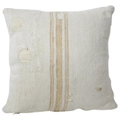 Grain Sack Pillow with Light Orange Vertical Stripe