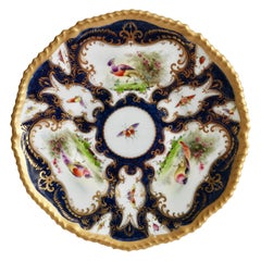 Grainger Worcester Porcelain Plate, Blue Scale, Sevres Birds & Insects, 1899 '1'