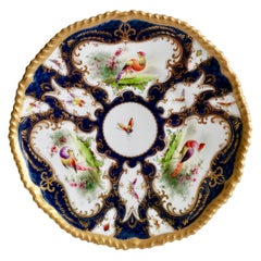 Grainger Worcester Porcelain Plate, Blue Scale, Sevres Birds & Insects, 1899 '2'