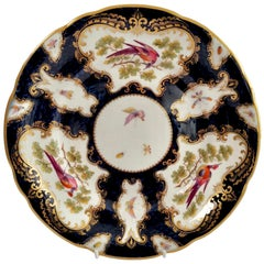 Grainger Worcester Porcelain Plate, Blue Sèvres Birds and Insects circa 1880 '2'
