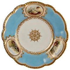 Grainger Worcester Porcelain Plate, Sky Blue with Landscapes, Victorian