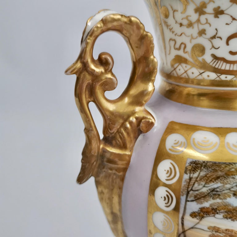 Grainger Worcester Porcelain Vase, Lilac, View of Hagley, Regency Empire a 1820 For Sale 7