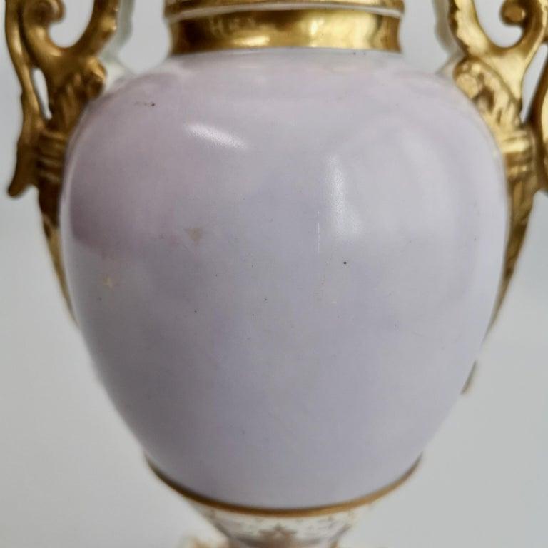 Grainger Worcester Porcelain Vase, Lilac, View of Hagley, Regency Empire a 1820 For Sale 8