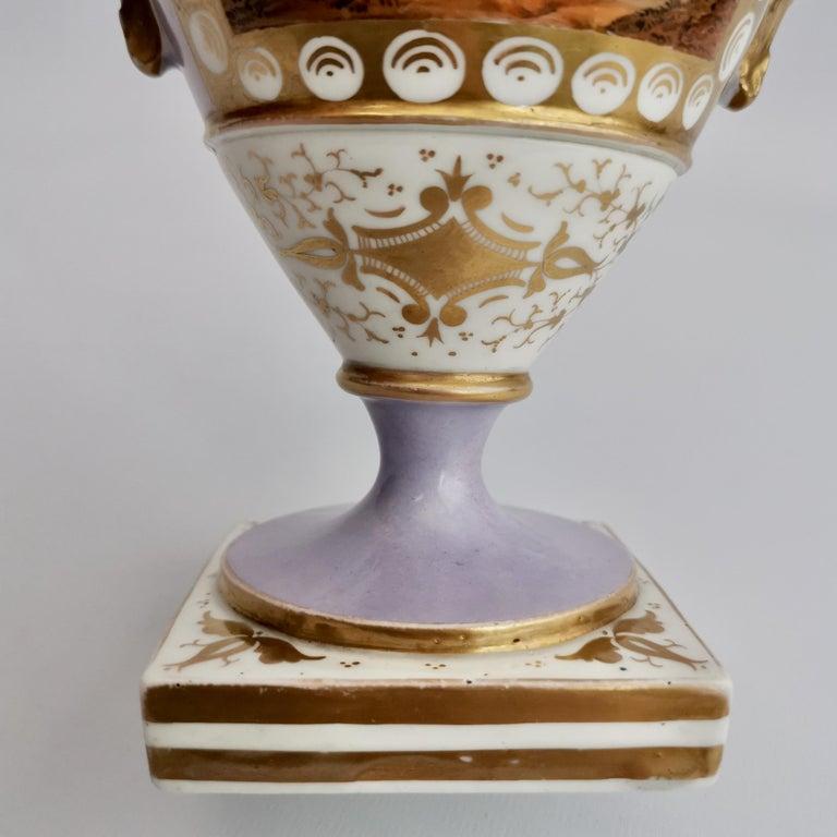 Grainger Worcester Porcelain Vase, Lilac, View of Hagley, Regency Empire a 1820 For Sale 9