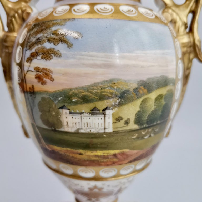 Early 19th Century Grainger Worcester Porcelain Vase, Lilac, View of Hagley, Regency Empire a 1820 For Sale
