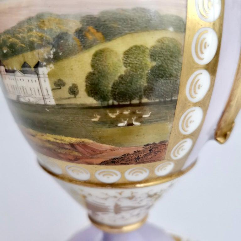 Grainger Worcester Porcelain Vase, Lilac, View of Hagley, Regency Empire a 1820 For Sale 1