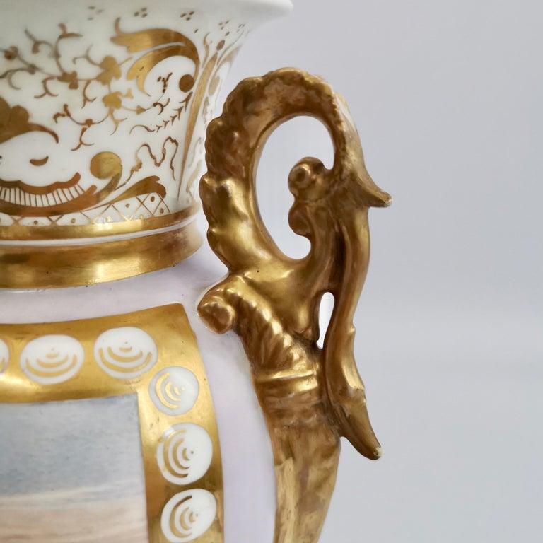 Grainger Worcester Porcelain Vase, Lilac, View of Hagley, Regency Empire a 1820 For Sale 2