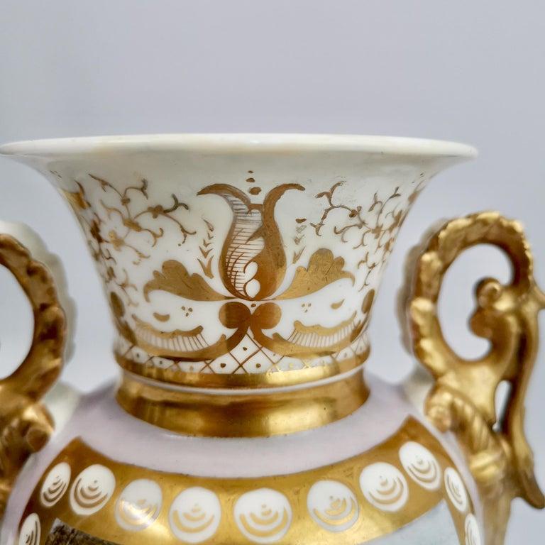 Grainger Worcester Porcelain Vase, Lilac, View of Hagley, Regency Empire a 1820 For Sale 3