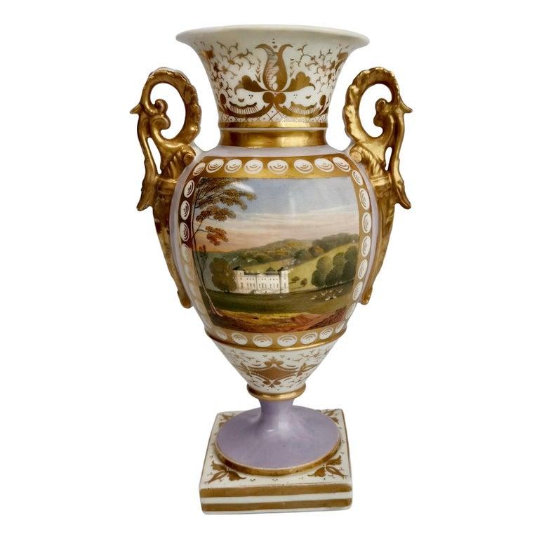 Grainger Worcester Porcelain Vase, Lilac, View of Hagley, Regency Empire a 1820 For Sale