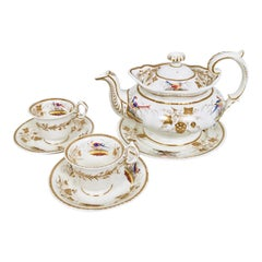 Grainger Worcester Tea Set, Rococo Revival, Sevres-Style Birds, circa 1830