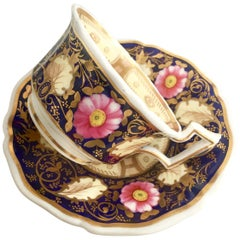 Grainger Worcester Teacup, Cobalt Blue with Dog Roses, Regency, circa 1825