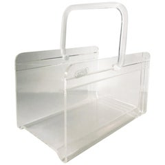 Grainware Clear Lucite or Acrylic Magazine Rack / Caddy / Holder with Handle
