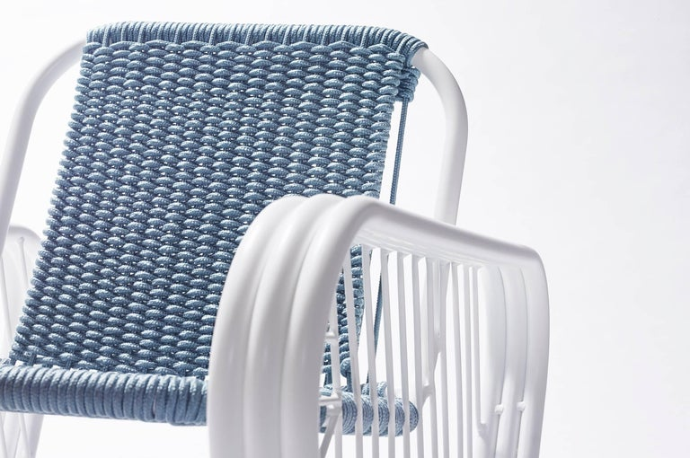 Powder-Coated Granada Outdoor Club Chair with Hand Woven Rope Seat 2018 by Post & Gleam For Sale