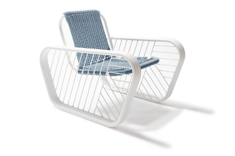 Contemporary Granada Outdoor Club Chair with Hand Woven Rope Seat 2018 by Post & Gleam For Sale