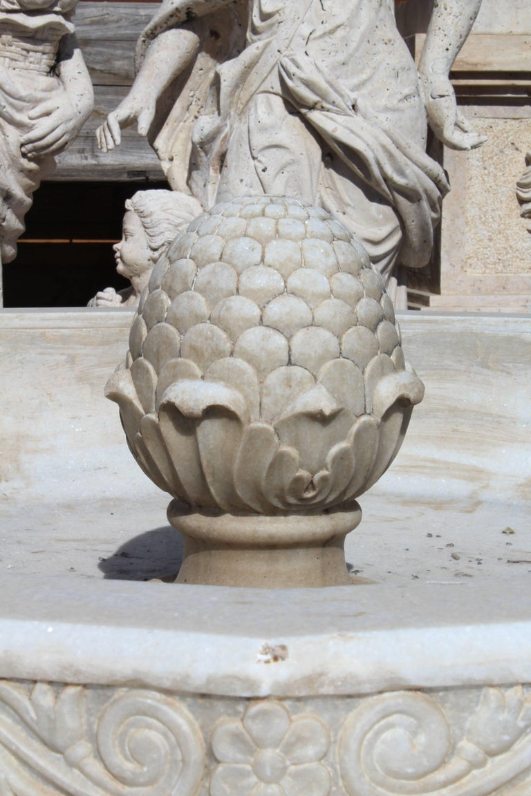 Spanish Granadas' Alhambra Lion Fountain Hand Carved in Aged Macael Marble For Sale