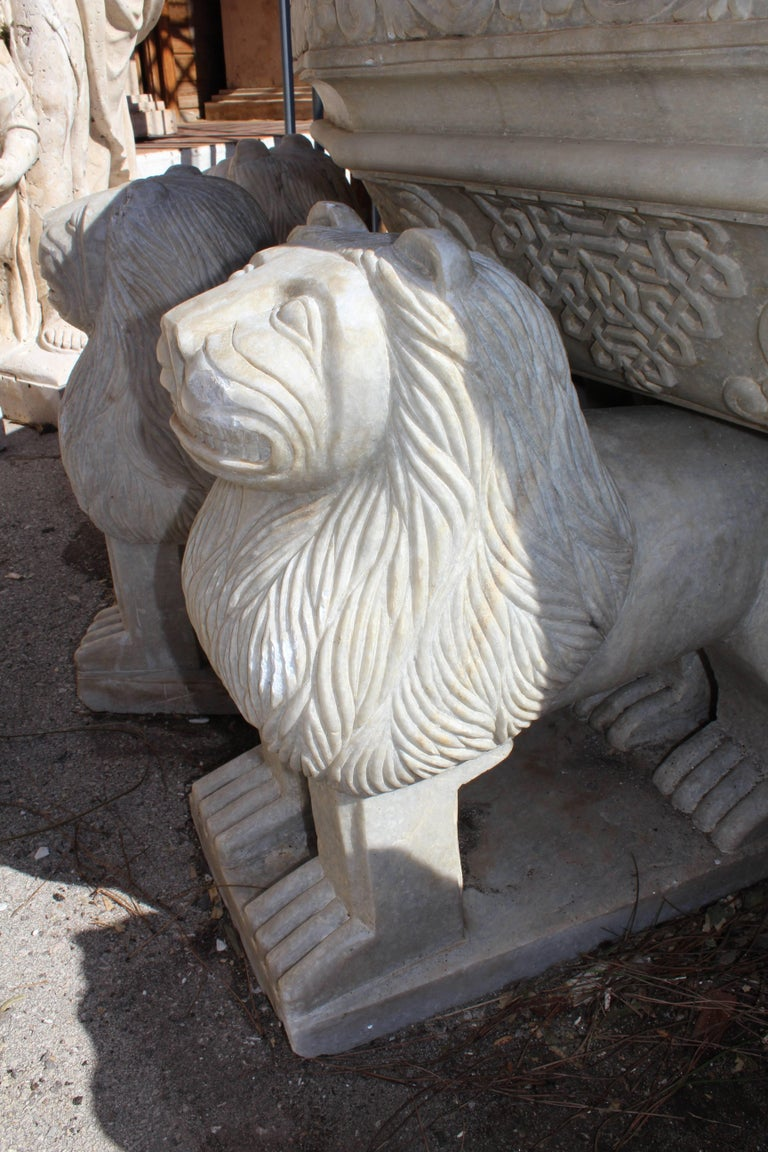 Late 20th Century Granadas' Alhambra Lion Fountain Hand Carved in Aged Macael Marble For Sale