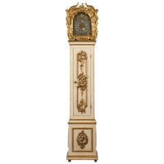 Grand 1803 Continental Rococo Painted with Gilt Tall-Case Clock