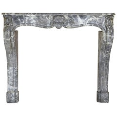 Grand 18th Century Grey Saint-Anne Marble Antique Fireplace Surround
