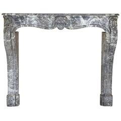 Grand 18th Century Grey Saint-Anne Marble Antique Fireplace Surround