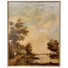 Grand 19th Century Framed Landscape Oil Painting on Canvas