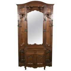 Grand 19th Century French Louis XV Style Walnut Hall Tree with Storage Cabinet