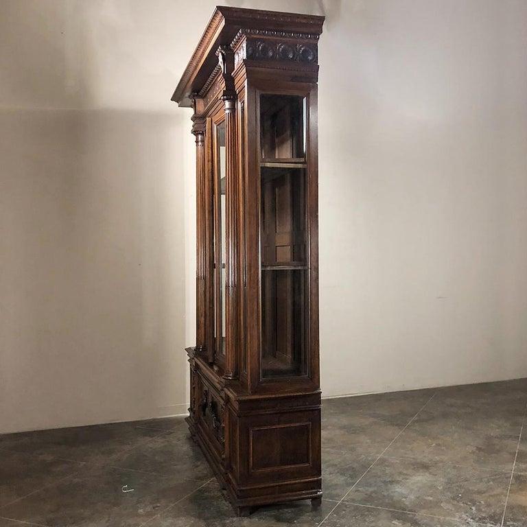 Grand 19th Century Italian Walnut Renaissance Bookcase with Hunt Wildlife Scenes For Sale 5