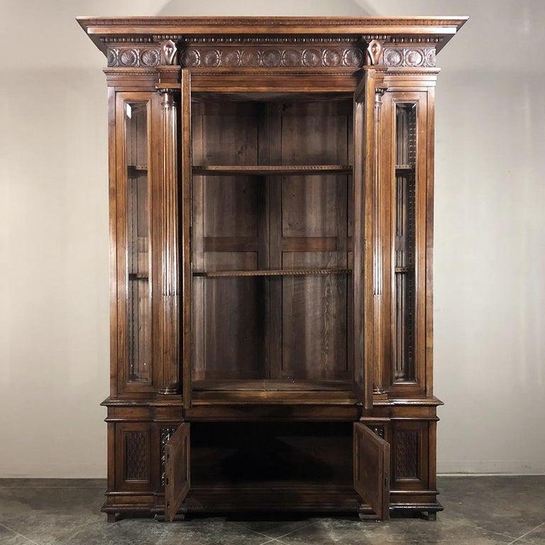 Grand 19th Century Italian Walnut Renaissance Bookcase with Hunt Wildlife Scenes For Sale 3
