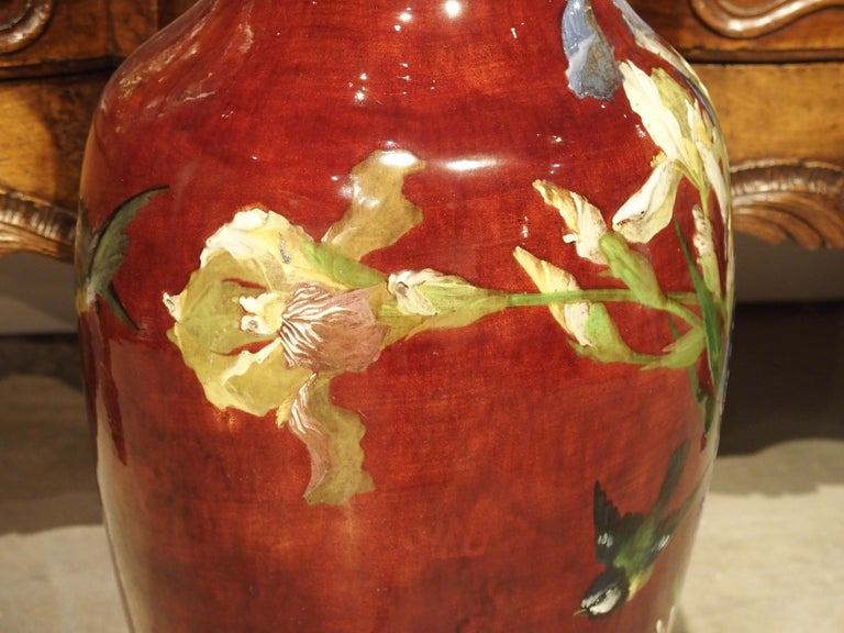 Grand Antique French Barbotine Vase, Parisian School, Late 1800s For Sale 4