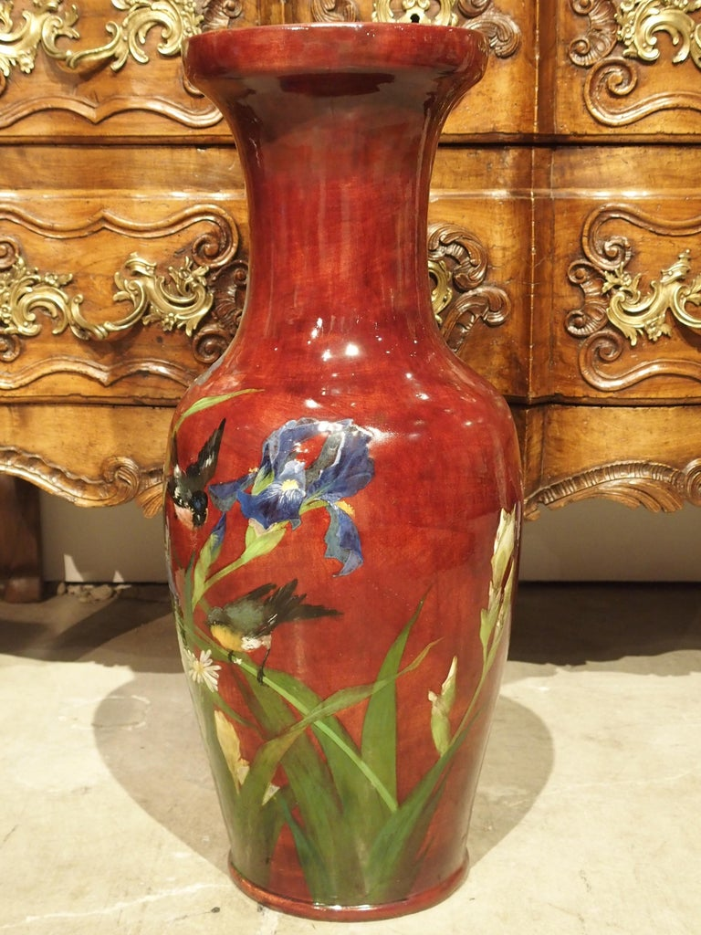 Grand Antique French Barbotine Vase, Parisian School, Late 1800s For Sale 9
