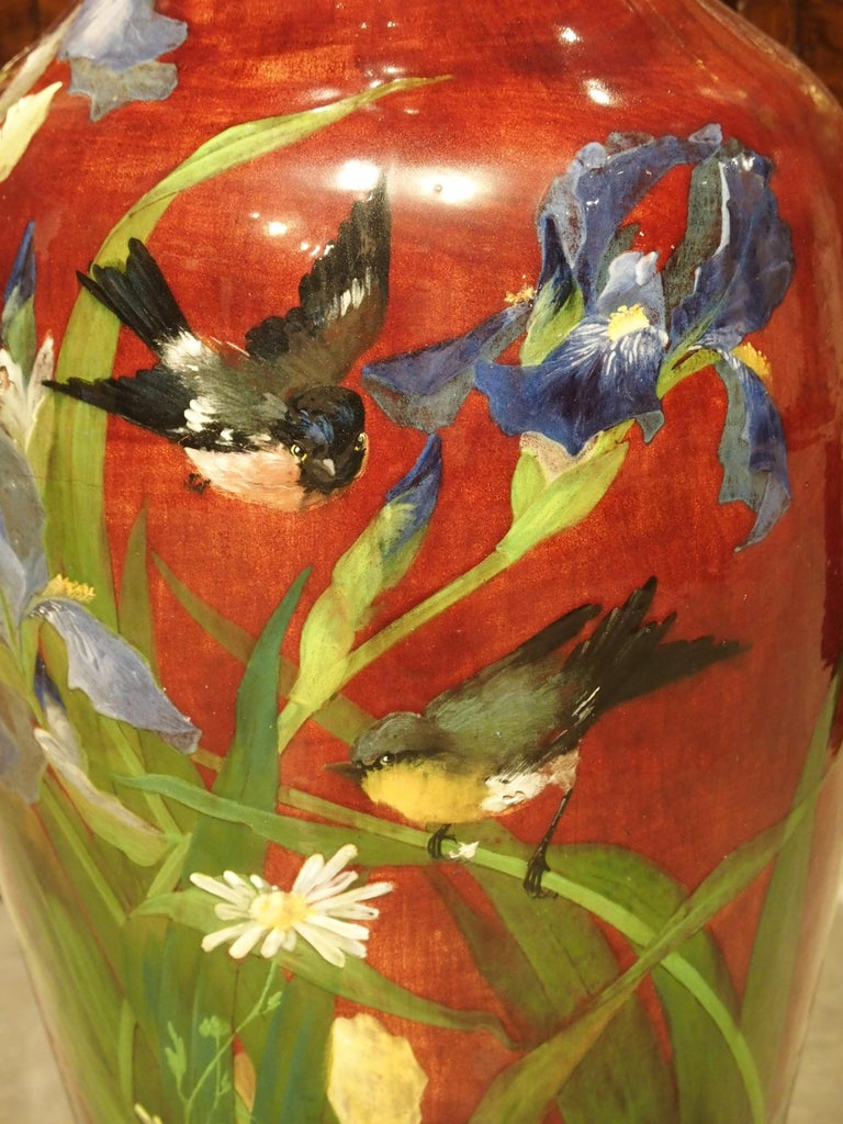 Grand Antique French Barbotine Vase, Parisian School, Late 1800s For Sale 10