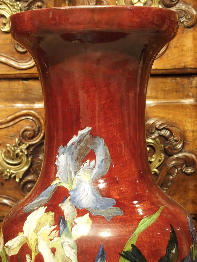 Hand-Painted Grand Antique French Barbotine Vase, Parisian School, Late 1800s For Sale