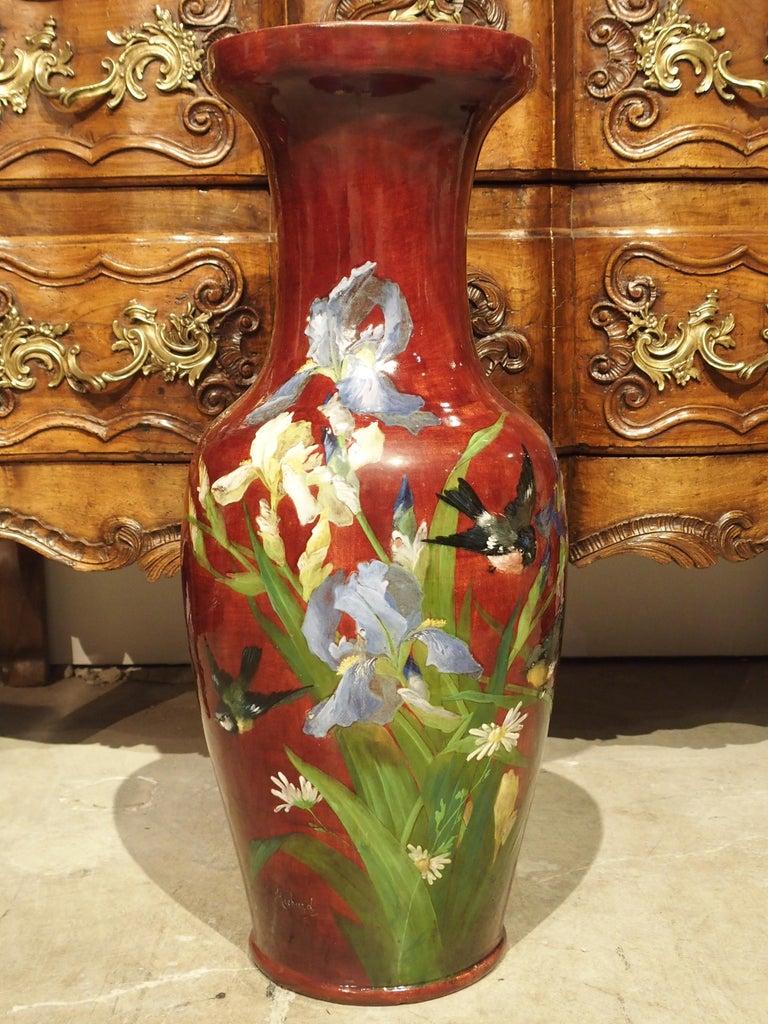 Grand Antique French Barbotine Vase, Parisian School, Late 1800s In Good Condition For Sale In Dallas, TX