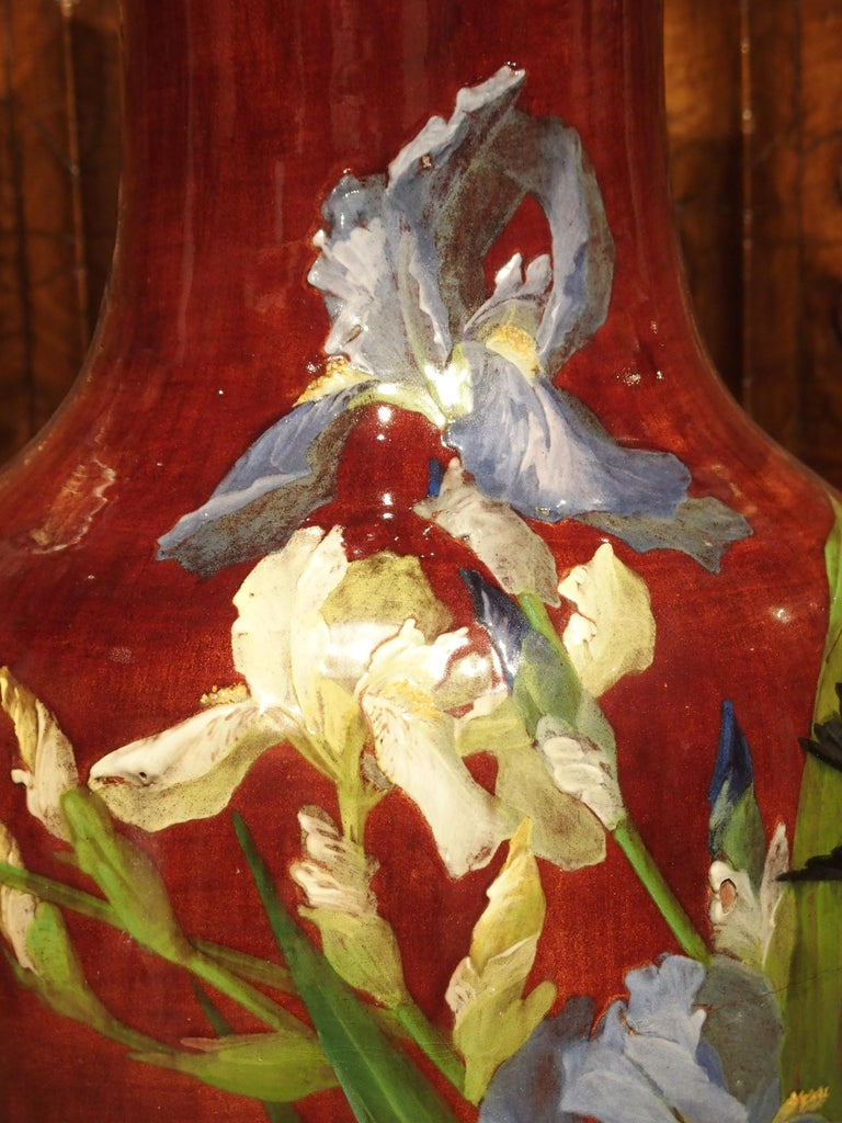Grand Antique French Barbotine Vase, Parisian School, Late 1800s For Sale 2