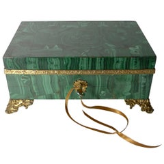 Grand Antique French Malachite and Gilded Bronze Jewelry Box