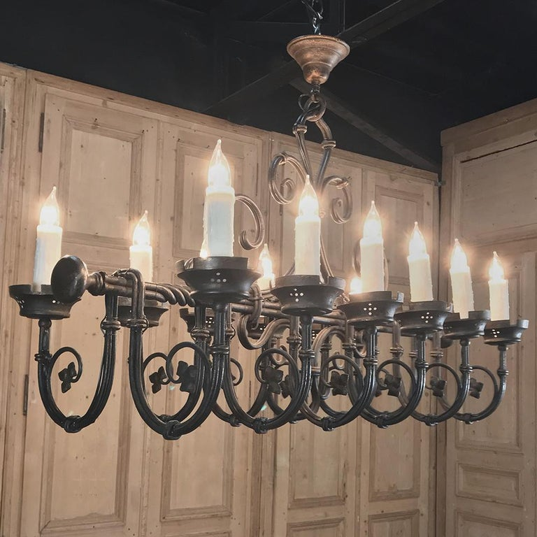 French Grand Antique Iron Chandelier For Sale